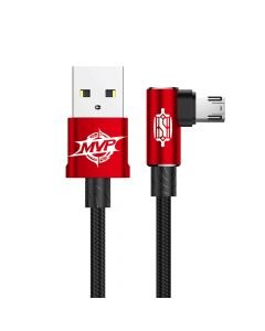 Cablu MicroUSB Baseus MVP Elbow USB Red (1m, output 2A, unghi 90°, impletitura nylon)