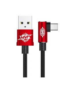 Cablu Type-C Baseus MVP Elbow USB Red (2m, output 1.5A, unghi 90, impletitura nylon)
