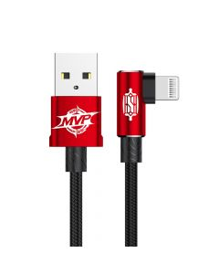 Cablu Lightning Baseus MVP Elbow USB Red (2m, output 1.5A, unghi 90, impletitura nylon)