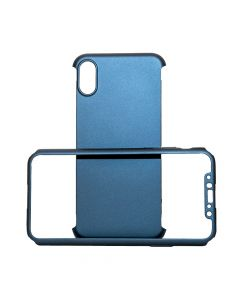 Carcasa iPhone X Just Must Defense 360 Navy (3 piese: protectie spate, protectie fata, folie Flexi-G