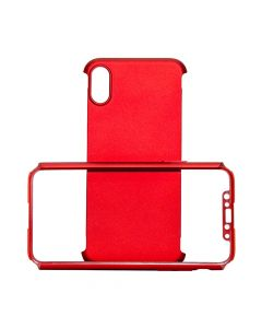 Carcasa iPhone X Just Must Defense 360 Red (3 piese: protectie spate, protectie fata, folie Flexi-Gl