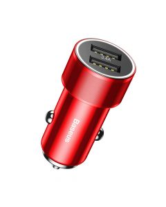 Incarcator Auto Baseus Small Screw 3.4A Dual USB Red
