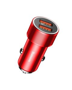 Incarcator Auto Baseus Small Screw Dual USB QC Red (max 2.4A pe fiecare port)