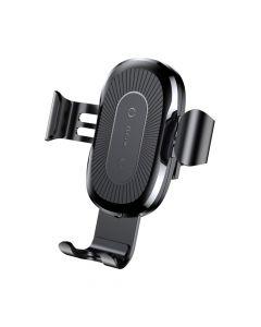 Suport Baseus Auto Gravity cu Wireless Charger Black (incarcare Qi, prindere la sistemul de ventilat