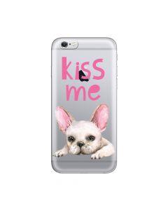 Husa iPhone 6/6S Lemontti Silicon Art Pug Kiss