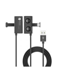 Cablu Lightning Baseus Suction Cup Mobile Games Black (1m, output 2.4A, cu ventuze)