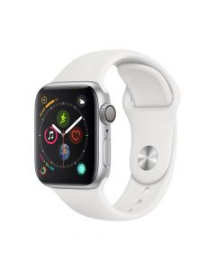 Apple Watch 4 GPS Silver Aluminium Case 40mm cu White Sport Band