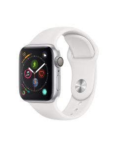 Apple Watch 4 GPS Silver Aluminium Case 44mm cu White Sport Band