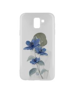 Husa Samsung Galaxy A6 (2018) Just Must Silicon Art White with Blue Flowers Girl
