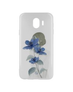 Husa Samsung Galaxy J4 (2018) Just Must Silicon Art White with Blue Flowers Girl