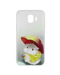 Husa Samsung Galaxy J4 (2018) Just Must Silicon Art White with Hamster Umbrella