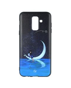 Husa Samsung Galaxy A6 Plus (2018) Just Must Silicon Art Black with Moon Girl