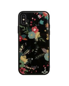 Carcasa iPhone XS / X Just Must Glass Diamond Print Black with Little Flowers