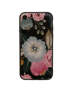 Carcasa iPhone 8 / 7 Just Must Glass Diamond Print Black with Big Flowers