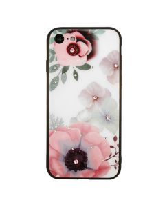 Carcasa iPhone 8 / 7 Just Must Glass Diamond Print White with Big Flowers