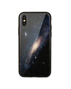 Carcasa Sticla iPhone XS / X Just Must Glass Print Galaxy