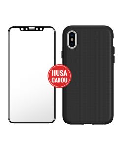 Pachet promo iPhone XS / X Eiger Sticla 3D + North Case Clear Black