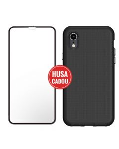 Pachet promo iPhone XR Eiger Sticla 3D + North Case Clear Black