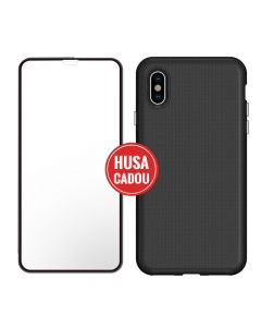 Pachet promo iPhone XS Max Eiger Sticla 3D + North Case Clear Black