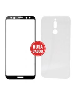 Pachet promo Huawei Mate 10 Lite Devia Folie Sticla Frame Black + Silicon Naked