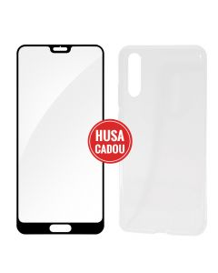 Pachet promo Huawei P20 Devia Folie Sticla Frame Black + Silicon Naked