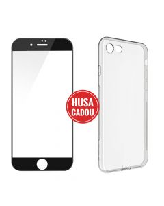 Pachet promo iPhone 8 / 7 Devia Folie Sticla 3D Black + Silicon Naked