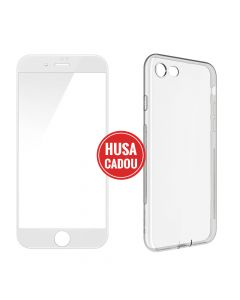 Pachet promo iPhone 8 Plus / 7 Plus Devia Folie Sticla 3D White + Silicon Naked