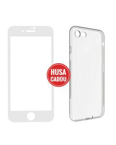 Pachet promo iPhone 8 Plus / 7 Plus Devia Folie Sticla Full White + Silicon Naked