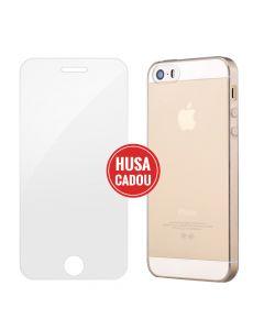 Pachet promo iPhone SE/5S Devia Folie Sticla + Silicon Naked