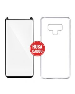 Pachet promo Samsung Galaxy Note 9 Devia Folie Sticla 3D Case Friendly Black + Silicon Naked