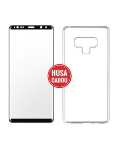 Pachet promo Samsung Galaxy Note 9 Devia Folie Sticla 3D Black + Silicon Naked