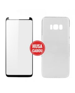 Pachet promo Samsung Galaxy S8 Plus G955 Devia Folie Sticla 3D Case Friendly Black + Silicon Naked