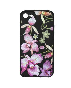 Husa iPhone 8 / 7 Just Must Silicon Printed Embroidery Pink Flowers