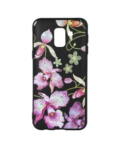 Husa Samsung Galaxy J6 (2018) Just Must Silicon Printed Embroidery Pink Flowers