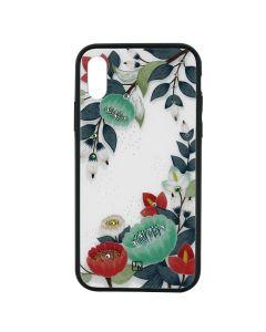 Carcasa iPhone XS Just Must Glass Diamond Print Orange & Green Flowers