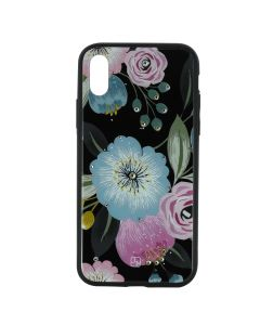 Carcasa iPhone XS Just Must Glass Diamond Print Flowers Black Background