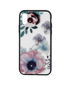Carcasa iPhone XS Just Must Glass Diamond Print Flowers White Backgound