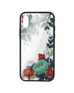 Carcasa Sticla iPhone XS Max Just Must Glass Diamond Print Orange & Green Flowers