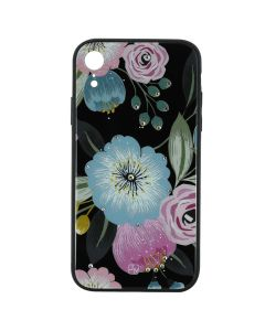 Carcasa iPhone XR Just Must Glass Diamond Print Flowers Black Background