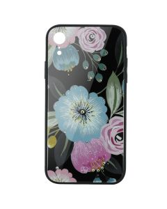 Carcasa Sticla iPhone XR Just Must Glass Diamond Print Flowers Black Background