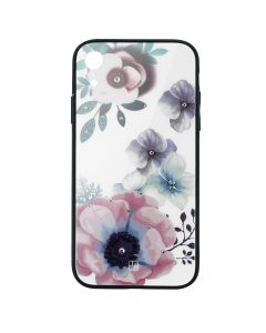 Carcasa Sticla iPhone XR Just Must Glass Diamond Print Flowers White Backgound