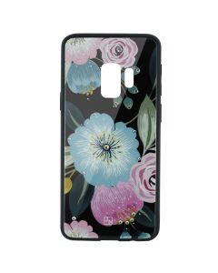 Carcasa Sticla Samsung Galaxy S9 G960 Just Must Glass Diamond Print Flowers Black Background