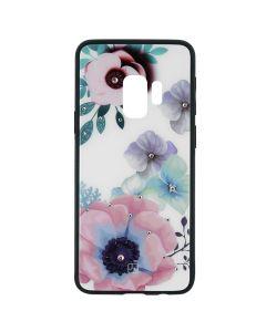 Carcasa Samsung Galaxy S9 G960 Just Must Glass Diamond Print Flowers White Backgound