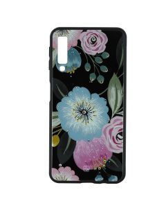 Carcasa Samsung Galaxy A7 (2018) Just Must Glass Diamond Print Flowers Black Background
