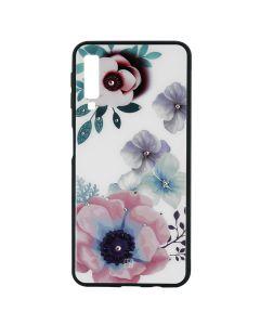 Carcasa Samsung Galaxy A7 (2018) Just Must Glass Diamond Print Flowers White Backgound