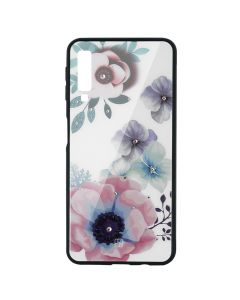 Carcasa Sticla Samsung Galaxy A7 (2018) Just Must Glass Diamond Print Flowers White Background