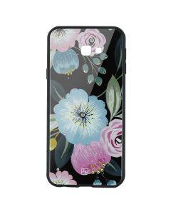 Carcasa Sticla Samsung Galaxy J4 Plus Just Must Glass Diamond Print Flowers Black Background