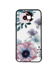 Carcasa Samsung Galaxy J4 Plus Just Must Glass Diamond Print Flowers White Backgound