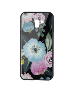 Carcasa Sticla Samsung Galaxy J6 Plus Just Must Glass Diamond Print Flowers Black Background