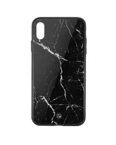 Carcasa Sticla iPhone XS Just Must Glass Print Black Marble